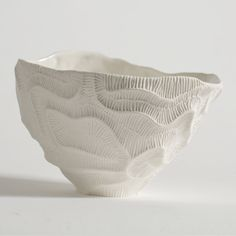 Fossils of madrepore inspire the minute texture decorating this exquisite bowl of the Fossilia collection. A meticulously crafted mold and the use of. Ceramic Tableware, Porcelain Ceramics, Ceramic Bowls, Ceramic Art, White Ceramics, Ceramic Texture, Clay Texture, Pottery Vase, Ceramic Pottery