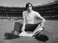 Dutch footballer Johan Cruyff - of Dutch team Ajax Amsterdam, in Wembley Stadium, London, UK, June (Photo by R. John Lennon, Real Madrid, Beatles, Franco Baresi, George Weah, Ruud Gullit, Dennis Bergkamp, Uefa European Championship, Argentina