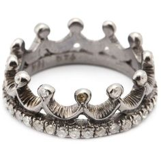 Loree Rodkin diamond crown mid finger ring ($3,835) ❤ liked on Polyvore featuring jewelry, rings, metallic, crown jewelry, mid-finger rings, fine jewelry, pave ring and diamond midi rings