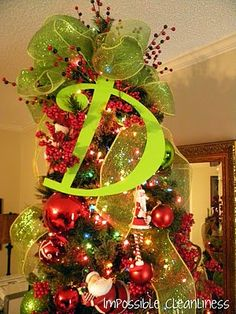 big initial at top of tree & Deco Mesh bow. Christmas Time Is Here, Merry Little Christmas, Christmas Love, Christmas Goodies, Winter Christmas, All Things Christmas, Christmas Crafts, Christmas Decorations, Christmas Ideas