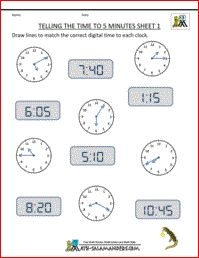 Telling Time Clock - To 5 Minutes Sheet 1