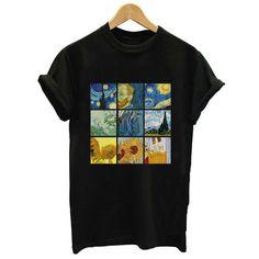 Harajuku Print Short Sleeve O-neck t-Shirts Plus Size Shirts, Casual Tops For Women, Tees For Women, Van Gogh, Tumblr T-shirt, Blusas Oversized, Harajuku, Print Shorts, Cheap T Shirts