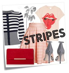 """Stripes"" by lula-kruta ❤ liked on Polyvore featuring Post-It, Karen Millen, MadeWorn, Rumour London and Zimmermann"