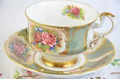 Hand painted Paragon cup and saucer, rose tea cup, hand painted roses