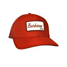 Georgia BBQ Trucker Hat Mesh Back  Cap Peach State Pride Stay Southern Red #PeachStatePride