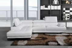 Milano White Leather Corner Sofa Left Hand | eBay