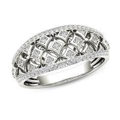 #ZALES - #Zales 1/5 CT. T.W. Diamond Star Lattice Ring in 10K White Gold at Zales - AdoreWe.com