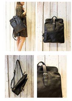 New Black Handmade Italian Leather backpack di LaSellerieLimited su Etsy