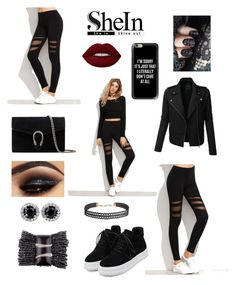 """Black mesh leggings"" by shadow23 ❤ liked on Polyvore featuring LE3NO, Casetify, Gucci, Lime Crime and Humble Chic"