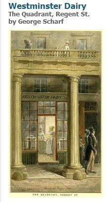 George Scharf - Westminster Dairy, The Quadrant, Regent St. Old London, London Art, London Life, Napoleon, 19th Century London, 18th Century, London Drawing, Georgian Era, Edwardian Era