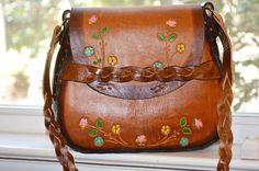 Vintage Tooled Leather 1970's Purse Flowers Mint Condition Handbag Shoulder Bag | eBay