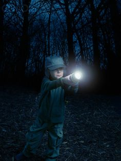If your kids are scared of going outside in the dark, take a flashlight tour of the backyard.  Everyone gets their own flashlight and you guide them with stories of the games they play at each stop.  Let them identify the location/landmark from your story.