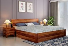Pomona Bed With Storage (King Size, Teak Finish) Blue Bedroom Decor, Bedroom Bed Design, Modern Bedroom Furniture, Bed Furniture, Simple Bed Designs, Bed Designs With Storage, Double Bed Designs, Unique Bed Frames, King Size Bed Designs