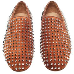 Christian Louboutin Rollerboy Spiked Brown Suede Loafers