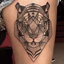 Afbeeldingsresultaat voor geometric tiger tattoo