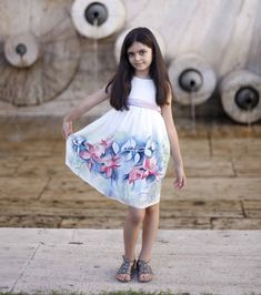 Flower silk dress hand painted for kids. Pastel от ArmeniaOnSilk