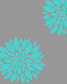 Digital Download 173 No Aqua Peonies on Gray Art by OliveRuePress, $2.00