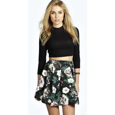 Boohoo Blossom Box Pleat Floral Skater Skirt ($14) ❤ liked on Polyvore featuring skirts, multi, flared midi skirt, knee length pleated skirt, pleated skater skirt, midi skater skirt and blue skater skirt