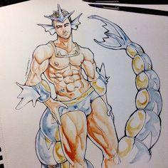 Its Gyarados!! Vote for the next pokeman!!! Have a nice day, -Joe #pokemon #pokeman #gyarados #art #sexy #muscle #anatomy #practice #fit #watercolor #ink #inktober #joesomesauce