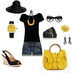 Cute outfit for day....Love the big yellow bag!