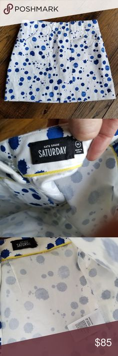 Kate Spade Saturday blue & white dotted skirt. NWOT Kate Spade Saturday blue & white Polka dotted Splash skirt. Sz 00. In like brand new condition! No stains or defects. kate spade Skirts Mini