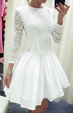 Long Sleeve Prom Dress,Long Sleeves Homecoming Dress,White Homecoming Dress,Short Prom Gown,Lace Homecoming Gowns,Ball Gown Party Dress,Sweet 16 Dress,Graduation Dresses
