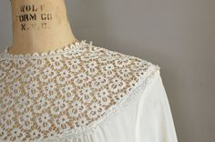 vintage 1940s blouse / Tatted Lace bib collar by DearGolden