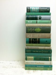 Green, Teal, Decorative Books,16 Books,Wedding Decor by beachbabyblues on Etsy, $88.00