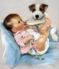 Charlotte Becker Dog Holding Baby Bottle Digital, Downloadable, Printable…