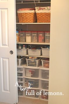 Day #7 ~ Getting Organized Challenge (The Pantry)   A Bowl Full of Lemons  Great use of bins, baskets, and rubbermaid drawers!