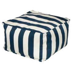 Perfect as extra seating on your patio or an accent to the living room seating group, this eye-catching indoor/outdoor ottoman showcases a bold stripe motif ...
