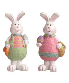 Look at this #zulilyfind! Hippity Hoppity Bunny Figurine - Set of Two by Transpac Imports #zulilyfinds