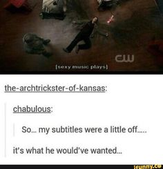 i don't know what show this is from but im laughing so hard Sam Winchester, Castiel, Crowley, Funny Memes, Hilarious, Funny Pics, Supernatural Memes, Supernatural Subtitles, Supernatural Gabriel