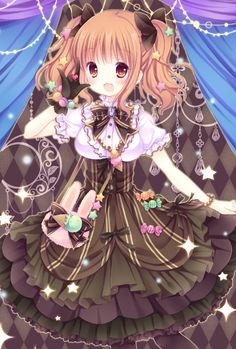 ✮ ANIME ART ✮ classic lolita. . .skirt. . .ribbons. . .blouse. . .lace. . .purse. . .necklace. . .candy. . .sweets. . .gloves. . .twin tails. . .hair ribbons. . .smile. . .cute. . .moe. . .kawaii