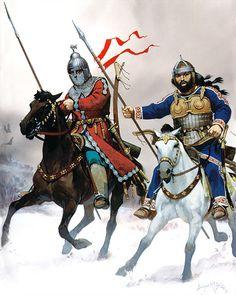 Angus Mc Bride - Guerreros avaro y búlgaro, Europa del Este, siglo VIII dC.