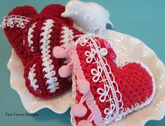 """Make up some cute hearts in time for Valentine's Day. Add some lace, buttons or a hanging cord to give your hearts a different look. Pattern includes instructions for two sizes 4 and 1/2"""" and 3"""". Uses sport weight cotton yarn, but you can use any yarn and hook to to make your hearts larger or smaller."""
