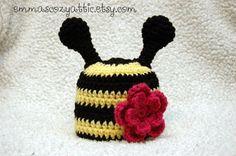 Crochet bumble bee hat animal hat for newborn by emmascozyattic, $29.00