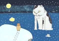 海猫 #illustration #イラスト #絵 #和風 #猫 #動物 #妖怪