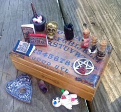 Miniature Black Magic Ouiji Board Kit One of a Kind. by HalesHaven