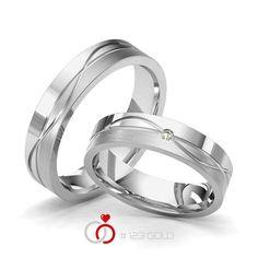 1 Paar Trauringe - Legierung: Weißgold 585/- Breite: 5,00 - Höhe: 1,60 - Steinbesatz: 1 Brillant 0,02 ct. tw, si (Ring 1 mit Steinbesatz, Ring 2 Trauringe Steinbesatz)