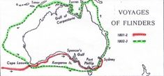 Voyages of Matthew Flinders. He sailed on the ship Investigator. First Fleet, Penal Colony, Aboriginal History, Coast Australia, School Themes, South Pacific, Family History, Free Ebooks, Maps