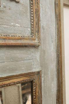 18th Century Painted Trumeau Mirror with Bois Doré