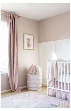 Gold Nursery Decor, Blush Nursery, Nursery Paint Colors, Baby Room Decor, Nursery Room, Pink Curtains Nursery, Pink Gold Nursery, Kids Room Curtains, Wall Colors