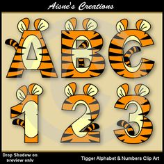 This pack contains a set of Tigger clip art alphabet letters uppercase A-Z and a set of numbers 0-9 as shown in the preview. All images are in png format at 300 dpi. ------------------------------------------ DISCOUNT CODES Save money and use these coupon codes: Buy over $ 15 and