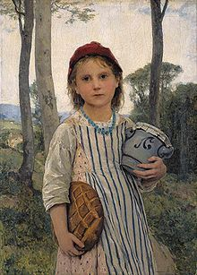 Le petit chaperon rouge, (Little Red Riding Hood) 1883 by Swiss painter Albert Anker