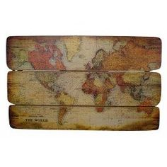 Add rustic appeal to your home library or office with this planked wood wall decor, showcasing an antique-inspired world map motif. Product: Set of 3 wall decor Construction Material: Wood Features:Antique-inspired world map motif Dimensions: H x W x D Wood World Map, World Map Wall Art, Wall Maps, Map Art, Wall Decor Set, Wood Wall Decor, Wooden Pallet Wall, Wooden Map, Pallet Art