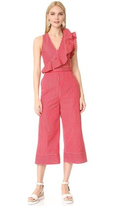 Ruffle-Trimmed Striped Jumpsuit by MSGM Now Available on Moda Operandi Casual Outfits, Fashion Outfits, Womens Fashion, Fashion Trends, Fashion Ideas, Striped Jumpsuit, Summer Jumpsuit, Jumpsuit Outfit, Red Jumpsuit