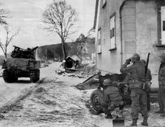 """ Armor and infantry of the 27th Infantry Reg. / 70th Infantry Division set out from Phillipsbourg, France on the outskirts of Wingen - January 1, 1945 during the opening hours of Operation 'Nordwind' —  ""  Nordwind was designed to break through the..."