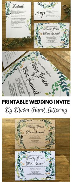 Printable Wedding Invitation Set Printable Wedding Invitation