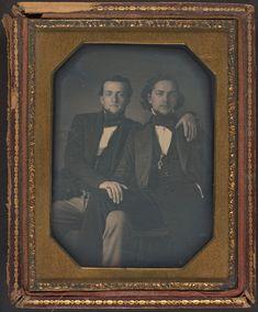 Two Young Men - Daguerreotype, 1850 Antique Photos, Vintage Photographs, Vintage Images, Vintage Men, Vintage Couples, Vintage Gentleman, Vintage Pictures, Old Pictures, Old Photos